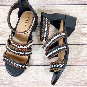 Torrid Multi Strap Braided Block Heel Sandals 9W